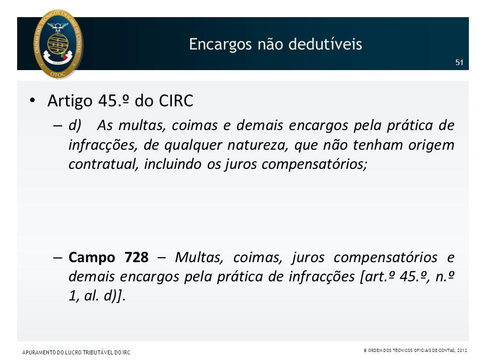 Encargos não dedutíveis Artigo 45.º do CIRC – d) As multas, coimas e demais encargos pela prática de infracções, de qualquer natureza, que não tenham