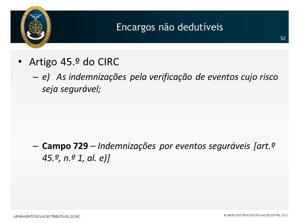 Encargos não dedutíveis Artigo 45.º do CIRC – e) As indemnizações pela verificação de eventos cujo risco seja segurável; – Campo 729 – Indemnizações p