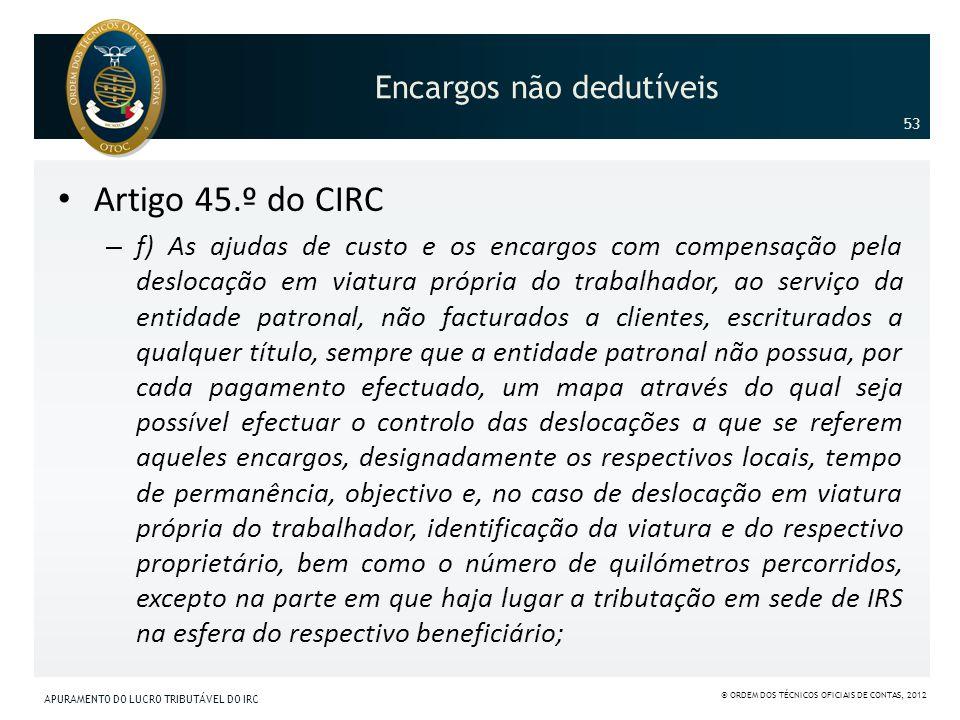 Encargos não dedutíveis Artigo 45.º do CIRC – f) As ajudas de custo e os encargos com compensação pela deslocação em viatura própria do trabalhador, a
