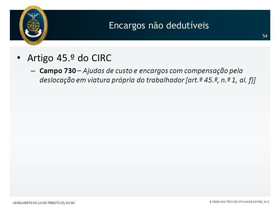 Encargos não dedutíveis Artigo 45.º do CIRC – Campo 730 – Ajudas de custo e encargos com compensação pela deslocação em viatura própria do trabalhador