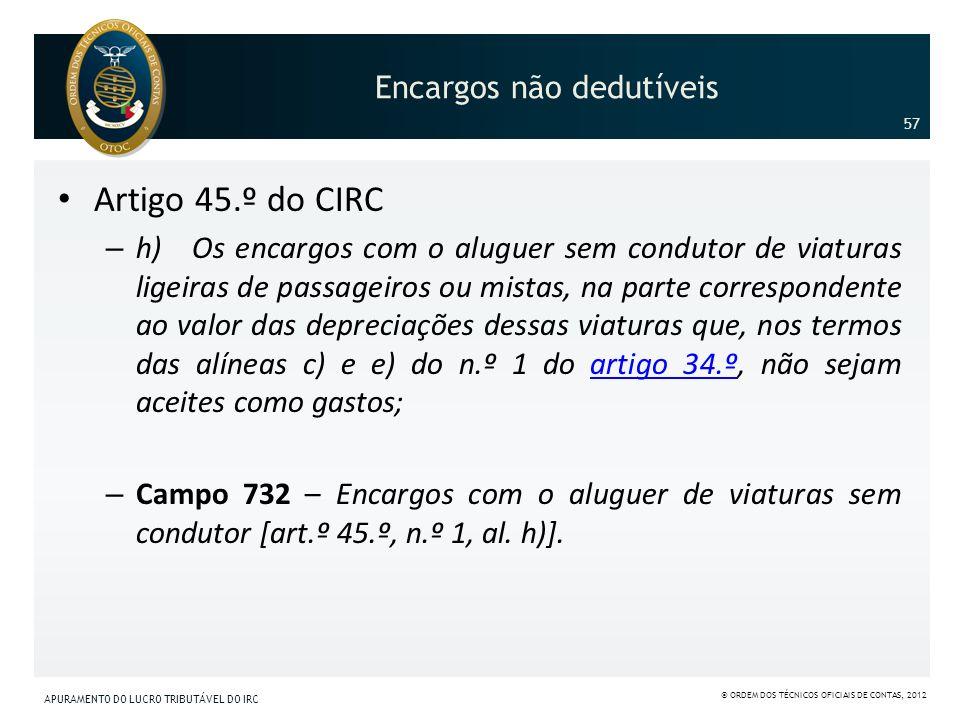 Encargos não dedutíveis Artigo 45.º do CIRC – h) Os encargos com o aluguer sem condutor de viaturas ligeiras de passageiros ou mistas, na parte corres
