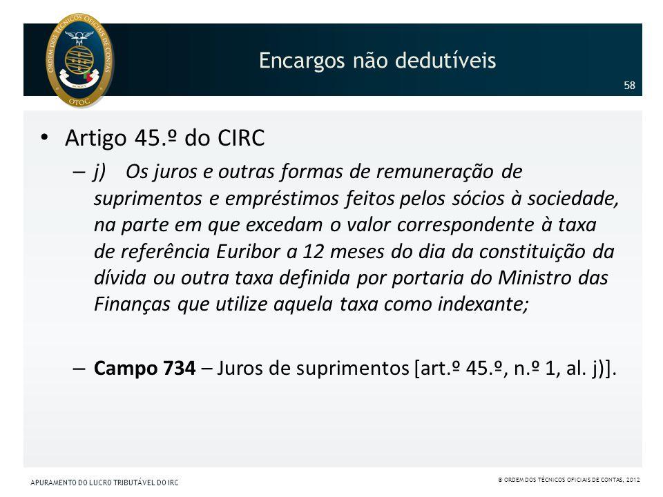 Encargos não dedutíveis Artigo 45.º do CIRC – j) Os juros e outras formas de remuneração de suprimentos e empréstimos feitos pelos sócios à sociedade,