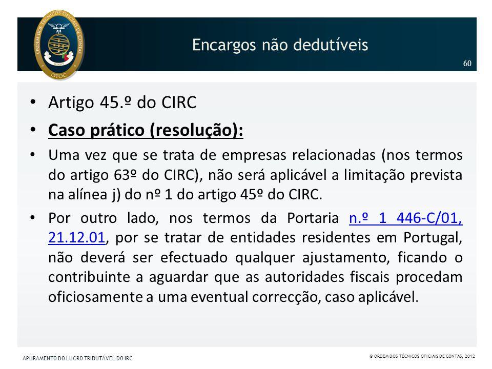 Encargos não dedutíveis Artigo 45.º do CIRC Caso prático (resolução): Uma vez que se trata de empresas relacionadas (nos termos do artigo 63º do CIRC)