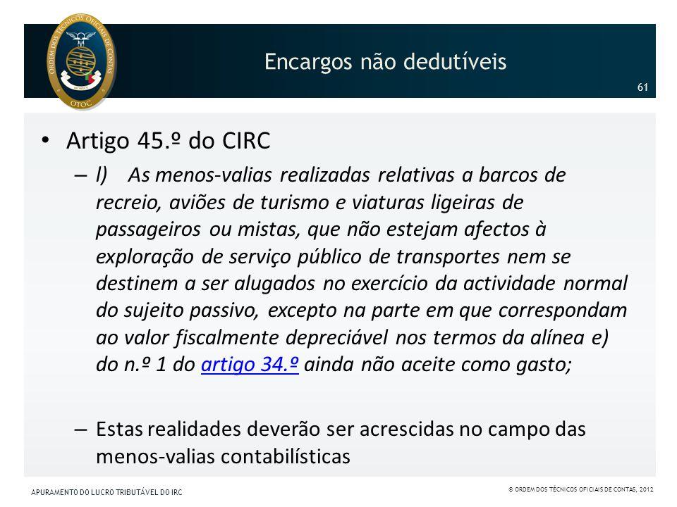 Encargos não dedutíveis Artigo 45.º do CIRC – l) As menos-valias realizadas relativas a barcos de recreio, aviões de turismo e viaturas ligeiras de pa