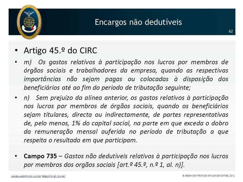 Encargos não dedutíveis Artigo 45.º do CIRC m) Os gastos relativos à participação nos lucros por membros de órgãos sociais e trabalhadores da empresa,