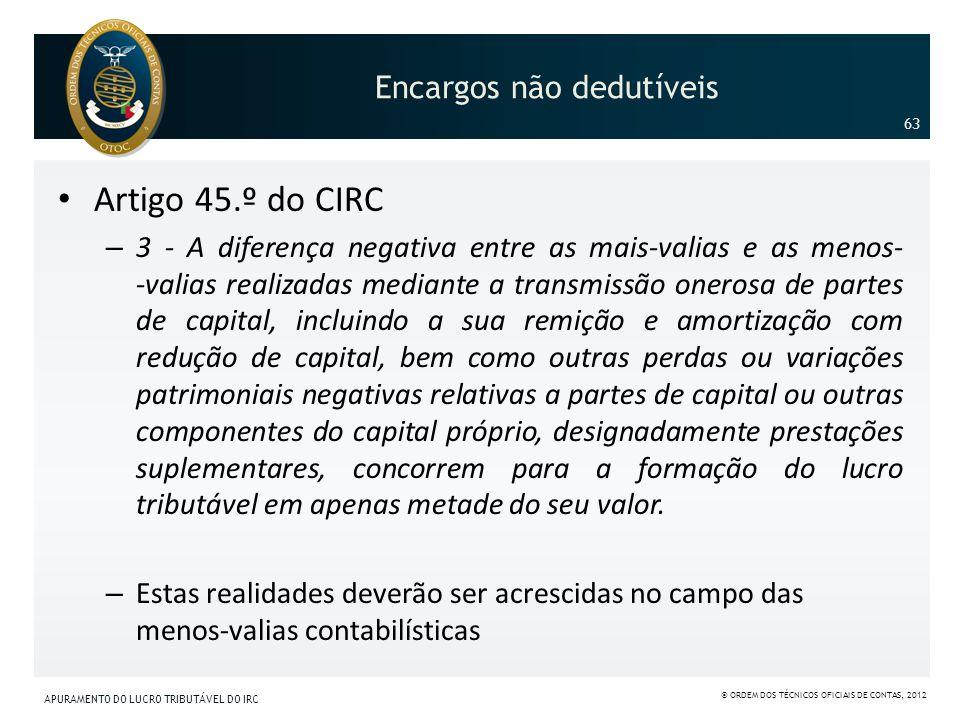 Encargos não dedutíveis Artigo 45.º do CIRC – 3 - A diferença negativa entre as mais-valias e as menos- -valias realizadas mediante a transmissão oner