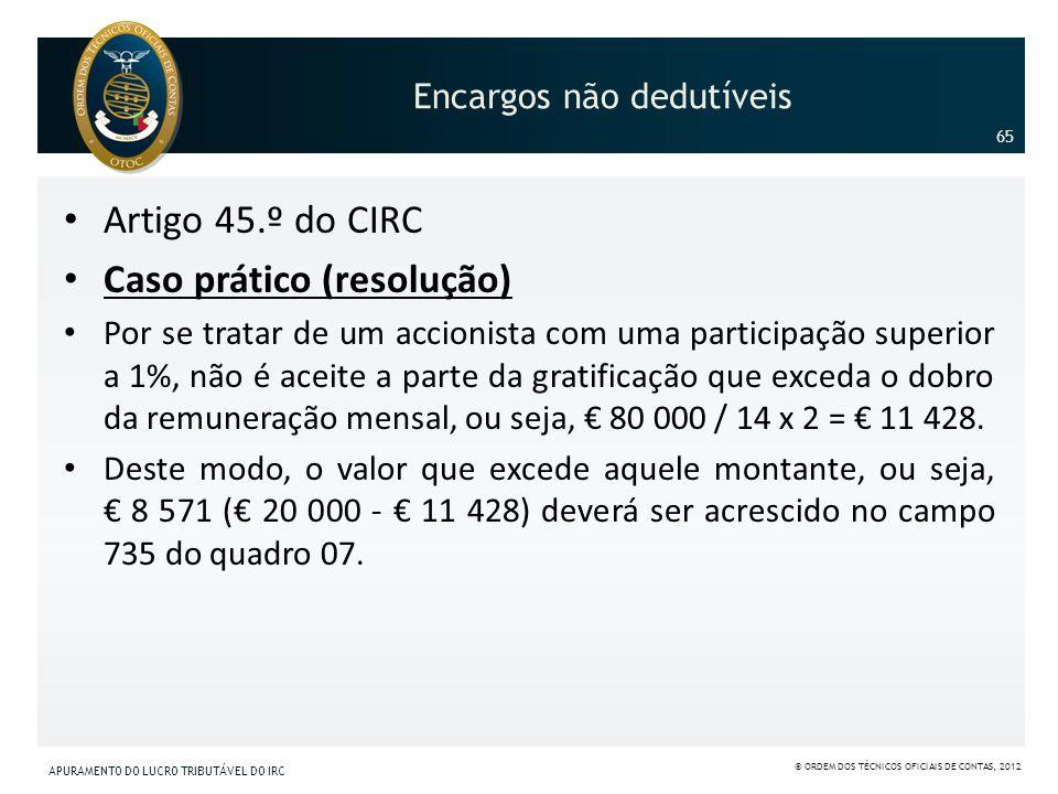 Encargos não dedutíveis Artigo 45.º do CIRC Caso prático (resolução) Por se tratar de um accionista com uma participação superior a 1%, não é aceite a