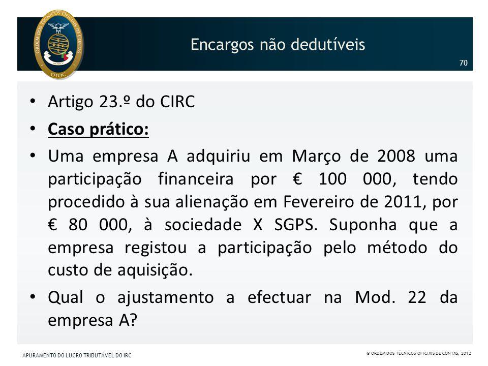 Encargos não dedutíveis Artigo 23.º do CIRC Caso prático: Uma empresa A adquiriu em Março de 2008 uma participação financeira por 100 000, tendo proce