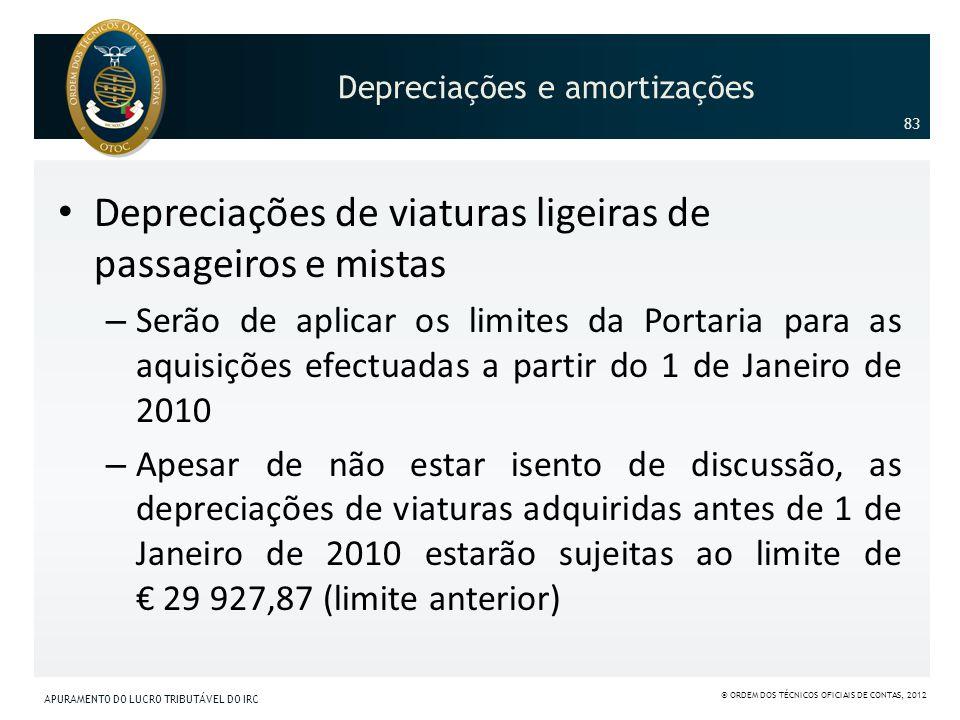 Depreciações de viaturas ligeiras de passageiros e mistas – Serão de aplicar os limites da Portaria para as aquisições efectuadas a partir do 1 de Jan