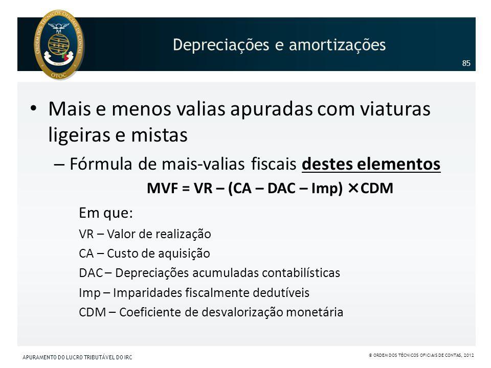 Mais e menos valias apuradas com viaturas ligeiras e mistas – Fórmula de mais-valias fiscais destes elementos MVF = VR – (CA – DAC – Imp) ×CDM Em que: