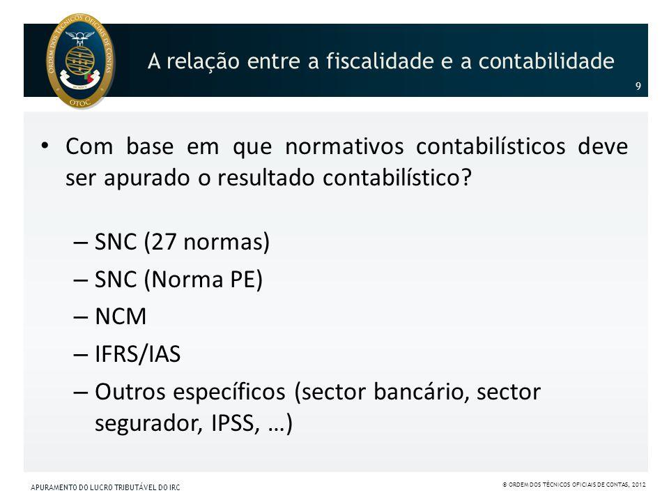 A relação entre a fiscalidade e a contabilidade Com base em que normativos contabilísticos deve ser apurado o resultado contabilístico? – SNC (27 norm