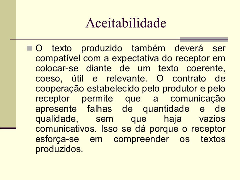 Aceitabilidade O texto produzido também deverá ser compatível com a expectativa do receptor em colocar-se diante de um texto coerente, coeso, útil e r