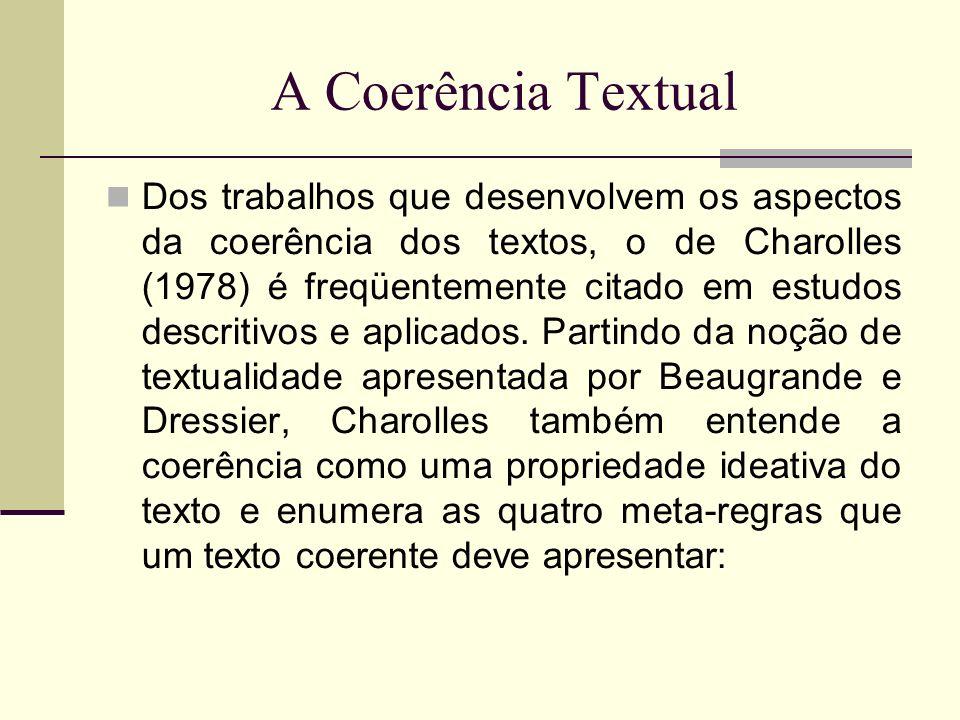 A Coerência Textual Dos trabalhos que desenvolvem os aspectos da coerência dos textos, o de Charolles (1978) é freqüentemente citado em estudos descri