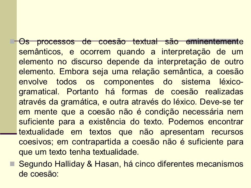 Os processos de coesão textual são eminentemente semânticos, e ocorrem quando a interpretação de um elemento no discurso depende da interpretação de o