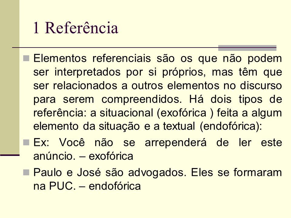 1 Referência Elementos referenciais são os que não podem ser interpretados por si próprios, mas têm que ser relacionados a outros elementos no discurs