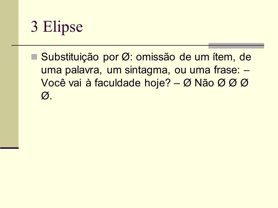 3 Elipse Substituição por Ø: omissão de um ítem, de uma palavra, um sintagma, ou uma frase: – Você vai à faculdade hoje? – Ø Não Ø Ø Ø Ø.