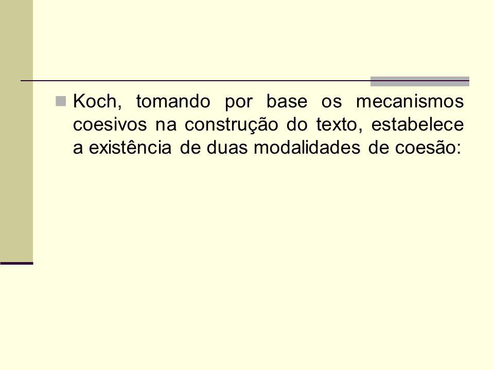 Koch, tomando por base os mecanismos coesivos na construção do texto, estabelece a existência de duas modalidades de coesão: