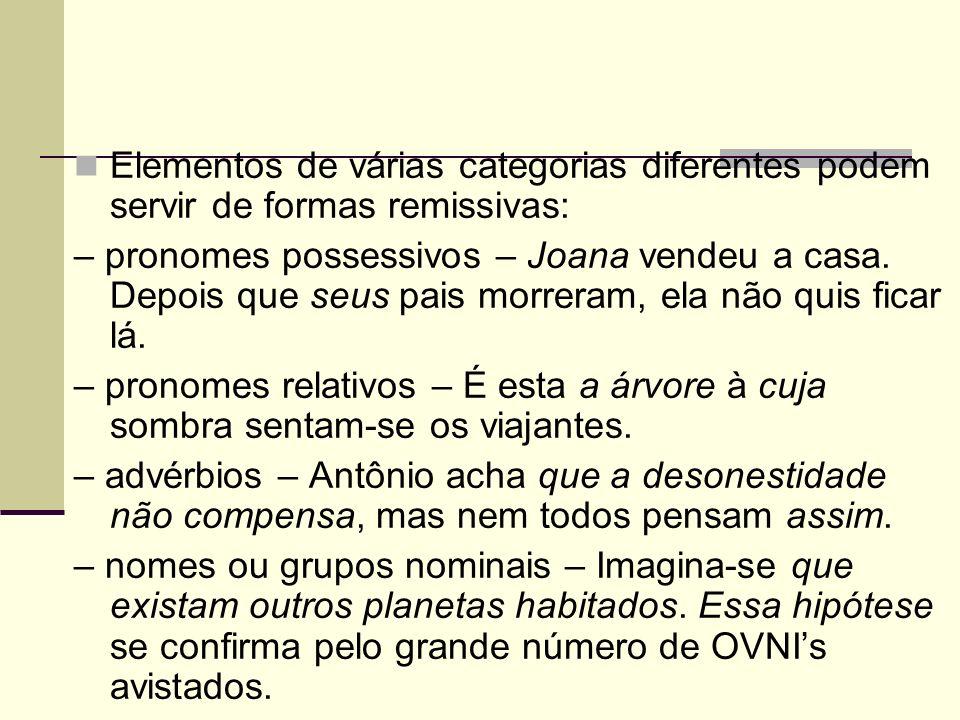 Elementos de várias categorias diferentes podem servir de formas remissivas: – pronomes possessivos – Joana vendeu a casa. Depois que seus pais morrer