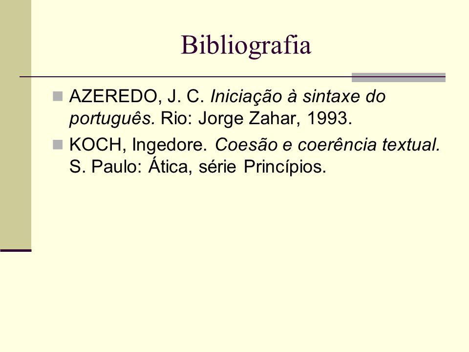 Bibliografia AZEREDO, J. C. Iniciação à sintaxe do português. Rio: Jorge Zahar, 1993. KOCH, Ingedore. Coesão e coerência textual. S. Paulo: Ática, sér