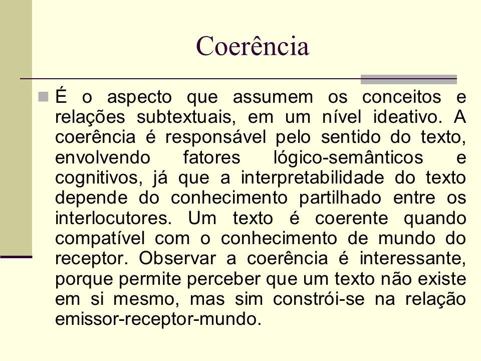 Coerência É o aspecto que assumem os conceitos e relações subtextuais, em um nível ideativo. A coerência é responsável pelo sentido do texto, envolven