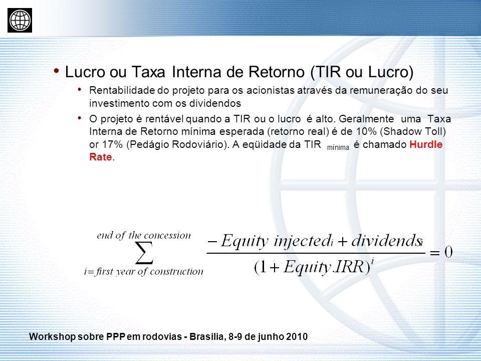 Lucro ou Taxa Interna de Retorno (TIR ou Lucro) Rentabilidade do projeto para os acionistas através da remuneração do seu investimento com os dividend