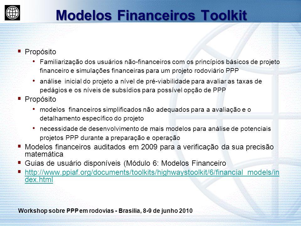 Propósito Familiarização dos usuários não-financeiros com os princípios básicos de projeto financeiro e simulações financeiras para um projeto rodoviá