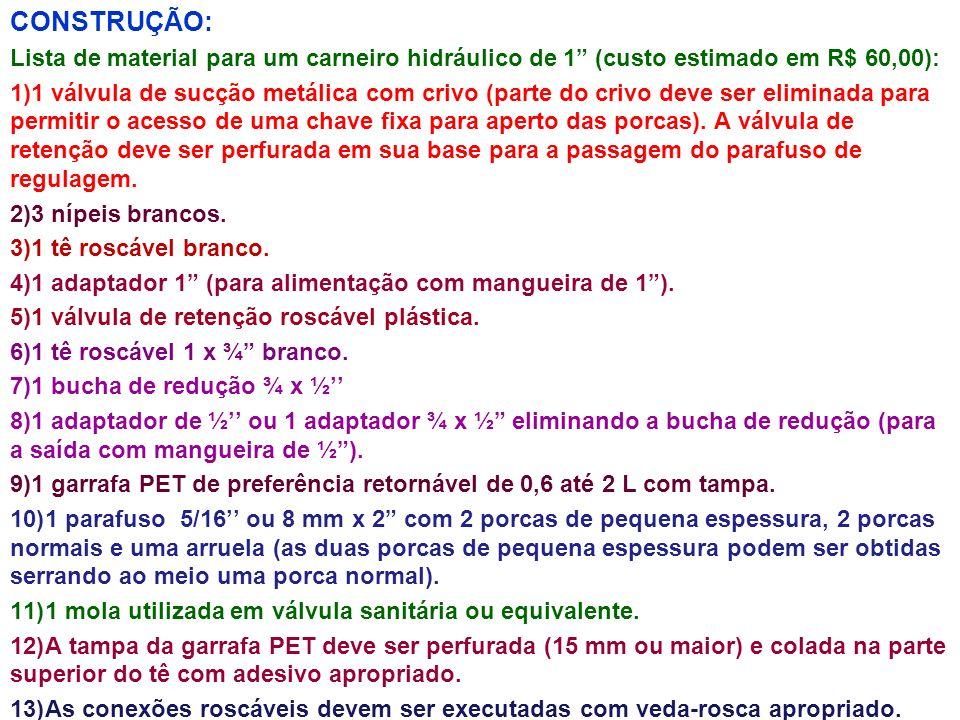 CONSTRUÇÃO: Lista de material para um carneiro hidráulico de 1 (custo estimado em R$ 60,00): 1)1 válvula de sucção metálica com crivo (parte do crivo