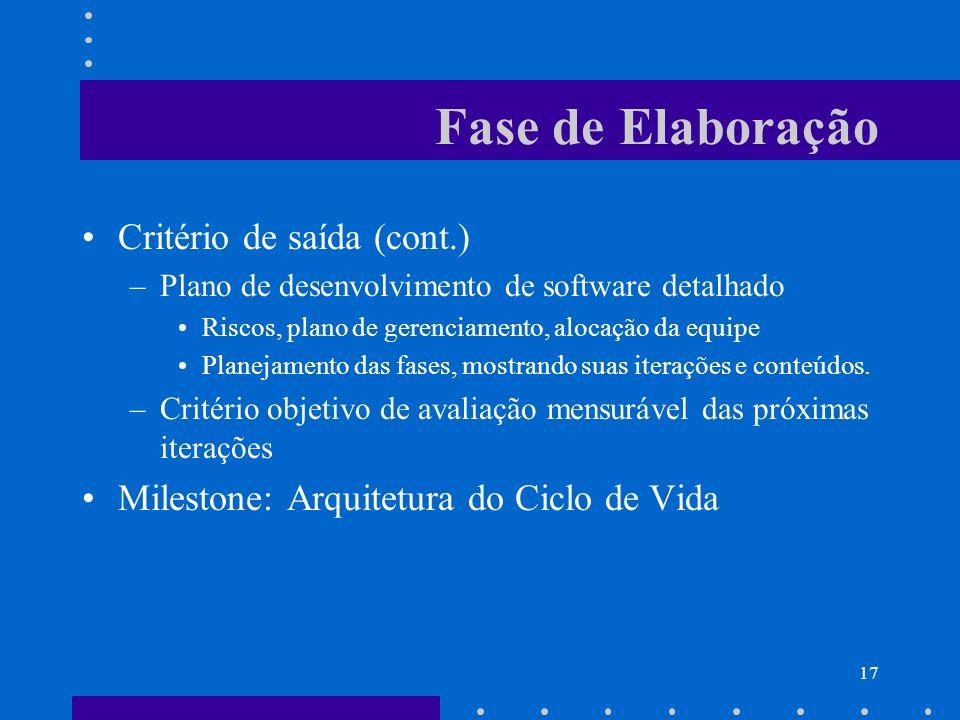 17 Fase de Elaboração Critério de saída (cont.) –Plano de desenvolvimento de software detalhado Riscos, plano de gerenciamento, alocação da equipe Pla
