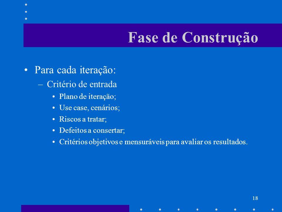 18 Fase de Construção Para cada iteração: –Critério de entrada Plano de iteração; Use case, cenários; Riscos a tratar; Defeitos a consertar; Critérios
