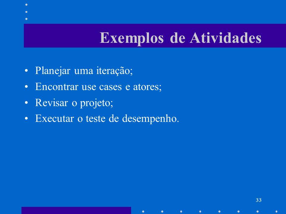33 Exemplos de Atividades Planejar uma iteração; Encontrar use cases e atores; Revisar o projeto; Executar o teste de desempenho.