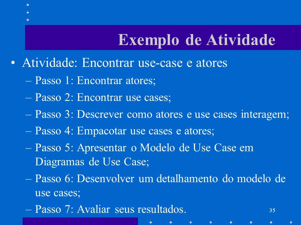 35 Exemplo de Atividade Atividade: Encontrar use-case e atores –Passo 1: Encontrar atores; –Passo 2: Encontrar use cases; –Passo 3: Descrever como ato