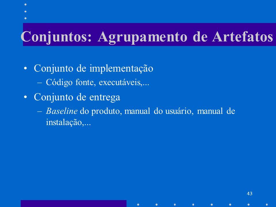 43 Conjuntos: Agrupamento de Artefatos Conjunto de implementação –Código fonte, executáveis,... Conjunto de entrega –Baseline do produto, manual do us