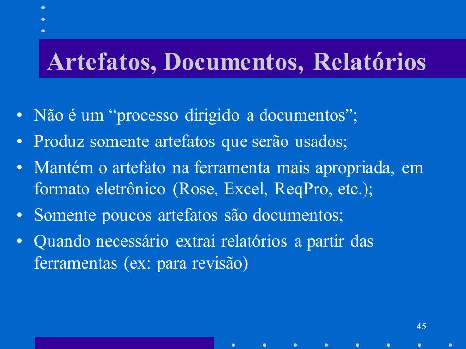 45 Artefatos, Documentos, Relatórios Não é um processo dirigido a documentos; Produz somente artefatos que serão usados; Mantém o artefato na ferramen