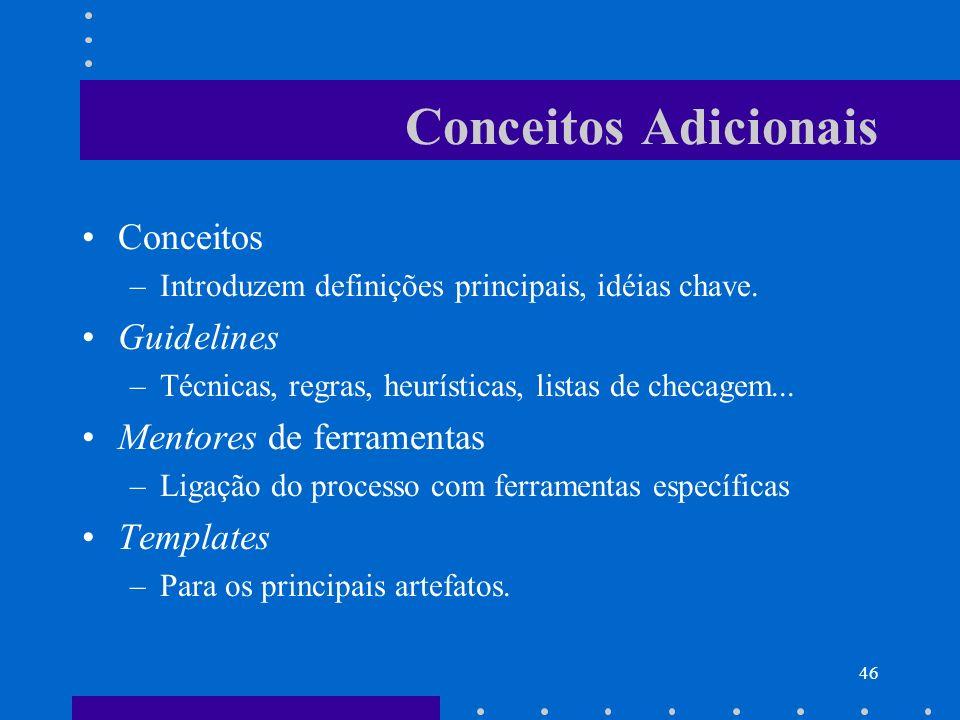 46 Conceitos Adicionais Conceitos –Introduzem definições principais, idéias chave. Guidelines –Técnicas, regras, heurísticas, listas de checagem... Me