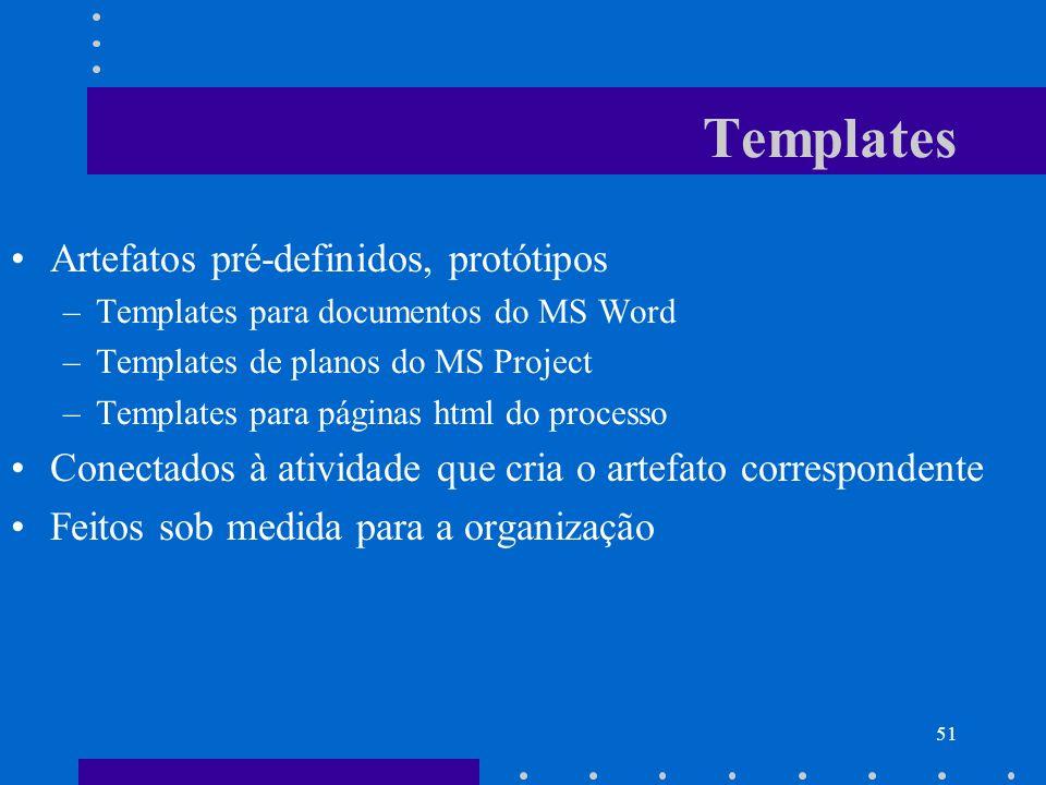 51 Templates Artefatos pré-definidos, protótipos –Templates para documentos do MS Word –Templates de planos do MS Project –Templates para páginas html