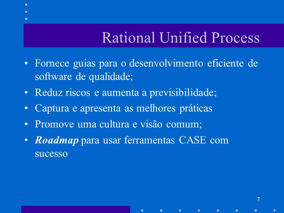 7 Rational Unified Process Fornece guias para o desenvolvimento eficiente de software de qualidade; Reduz riscos e aumenta a previsibilidade; Captura
