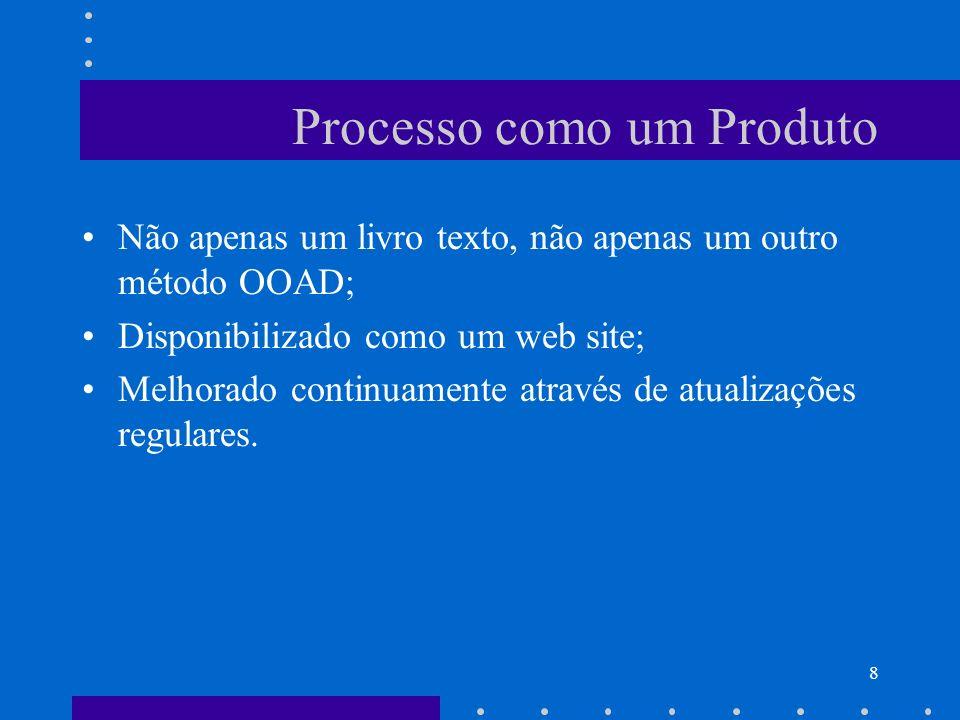 8 Processo como um Produto Não apenas um livro texto, não apenas um outro método OOAD; Disponibilizado como um web site; Melhorado continuamente atrav