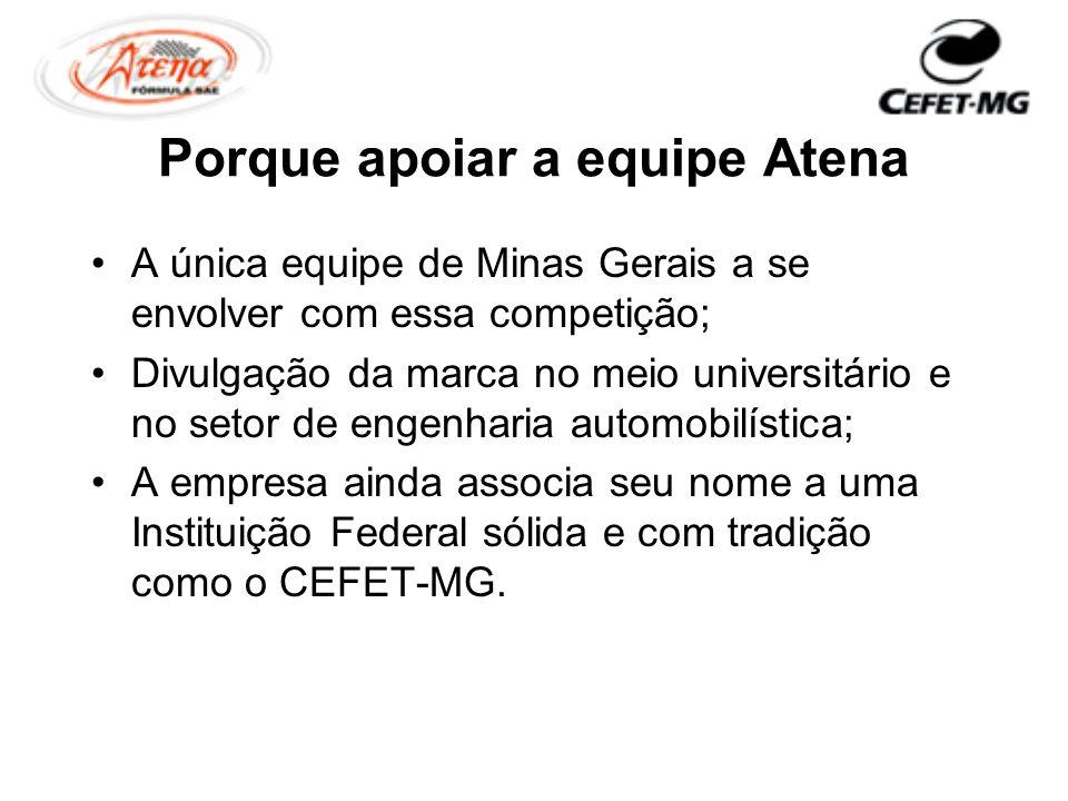Porque apoiar a equipe Atena A única equipe de Minas Gerais a se envolver com essa competição; Divulgação da marca no meio universitário e no setor de