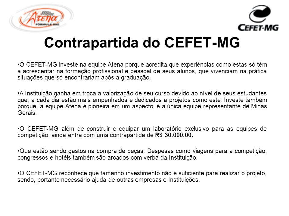 Contrapartida do CEFET-MG O CEFET-MG investe na equipe Atena porque acredita que experiências como estas só têm a acrescentar na formação profissional