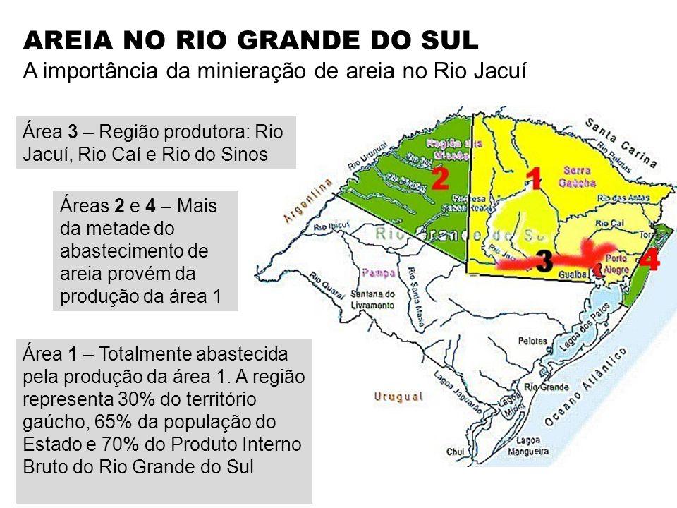 Área 3 – Região produtora: Rio Jacuí, Rio Caí e Rio do Sinos AREIA NO RIO GRANDE DO SUL A importância da minieração de areia no Rio Jacuí Área 1 – Tot