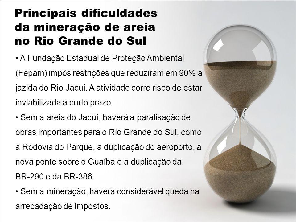 A Fundação Estadual de Proteção Ambiental (Fepam) impôs restrições que reduziram em 90% a jazida do Rio Jacuí. A atividade corre risco de estar inviab