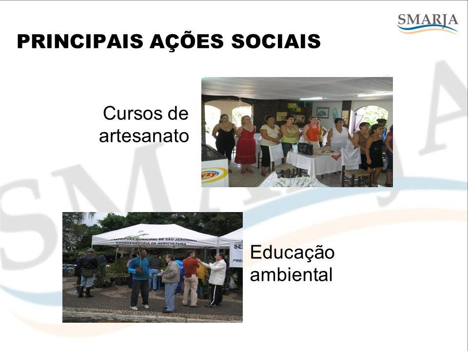 PRINCIPAIS AÇÕES SOCIAIS Cursos de artesanato Educação ambiental