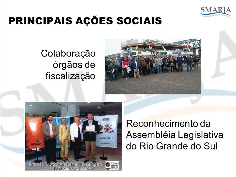 PRINCIPAIS AÇÕES SOCIAIS Colaboração órgãos de fiscalização Reconhecimento da Assembléia Legislativa do Rio Grande do Sul