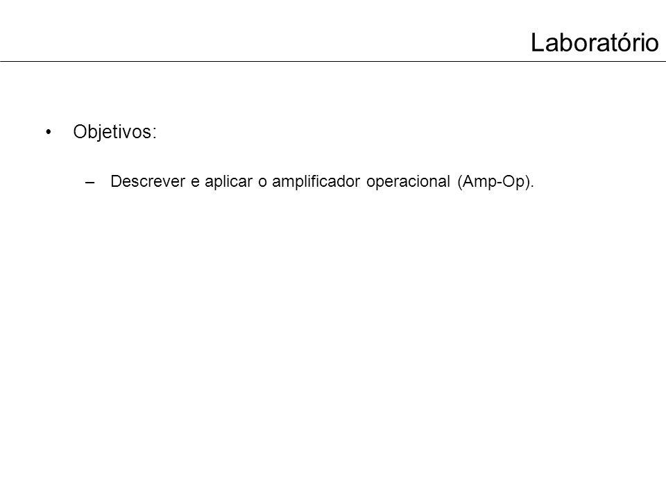 Laboratório Objetivos: –Descrever e aplicar o amplificador operacional (Amp-Op).