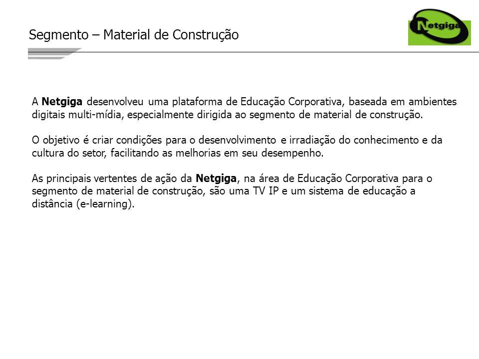Segmento – Material de Construção A Netgiga desenvolveu uma plataforma de Educação Corporativa, baseada em ambientes digitais multi-mídia, especialmente dirigida ao segmento de material de construção.