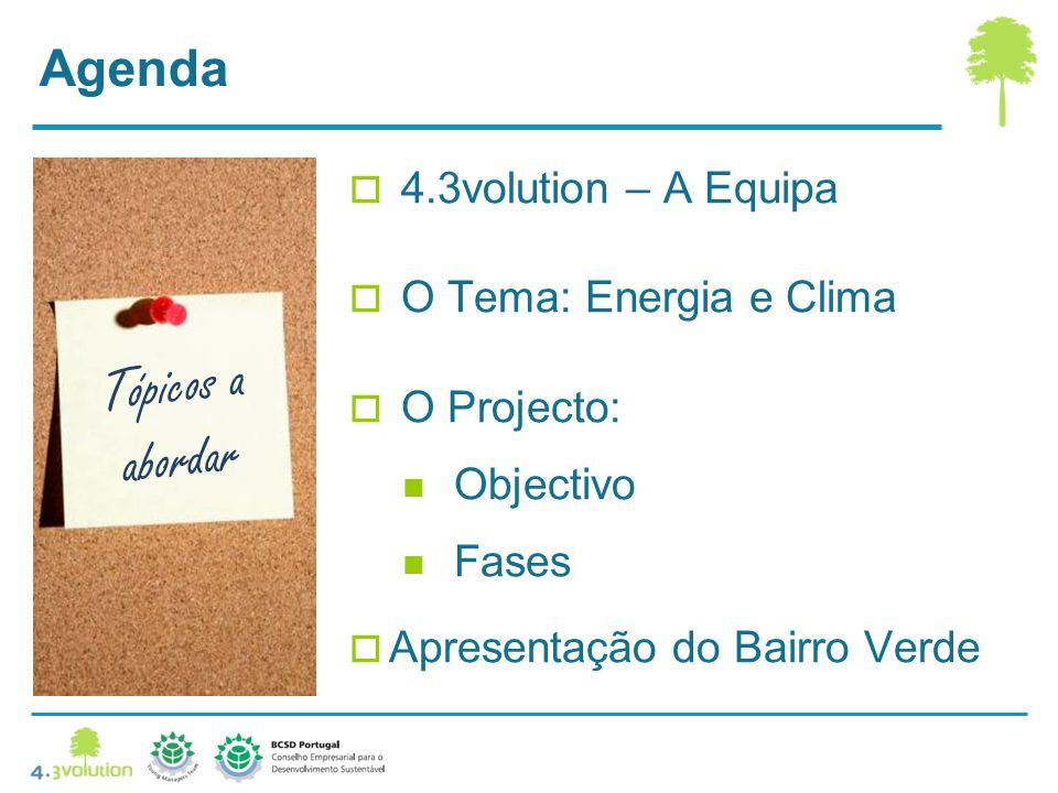 Agenda 4.3volution – A Equipa O Tema: Energia e Clima O Projecto: Objectivo Fases Apresentação do Bairro Verde Tópicos a abordar