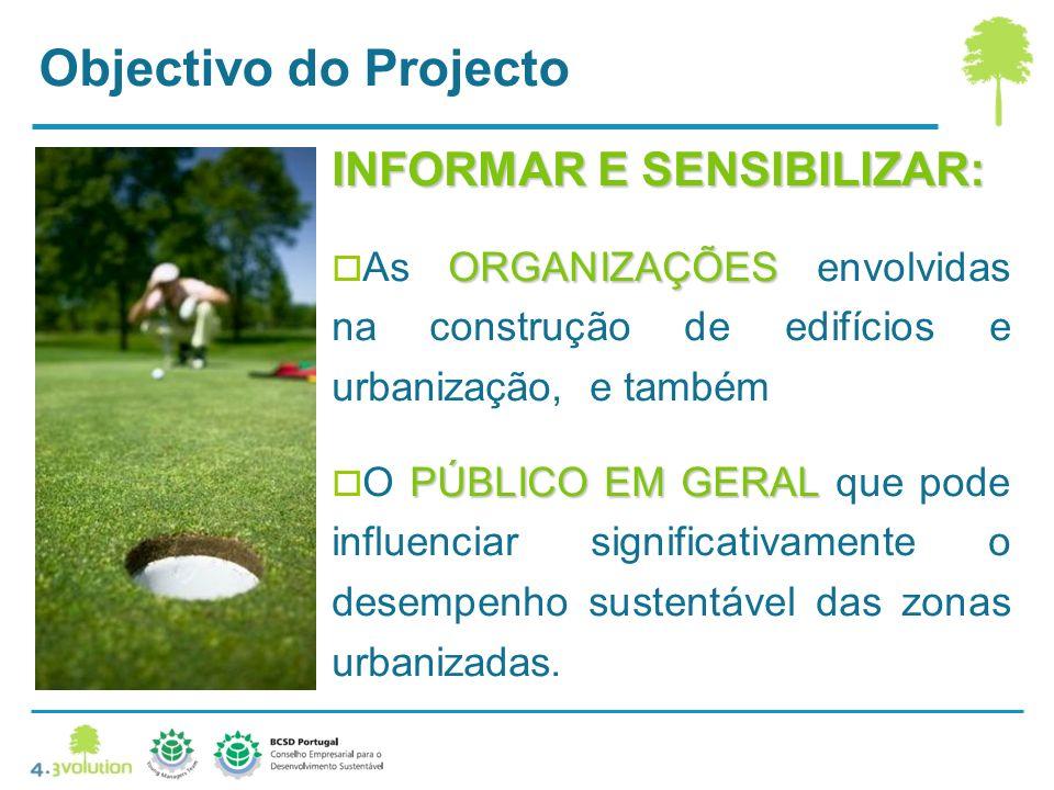 INFORMAR E SENSIBILIZAR: ORGANIZAÇÕES As ORGANIZAÇÕES envolvidas na construção de edifícios e urbanização, e também PÚBLICO EM GERAL O PÚBLICO EM GERAL que pode influenciar significativamente o desempenho sustentável das zonas urbanizadas.