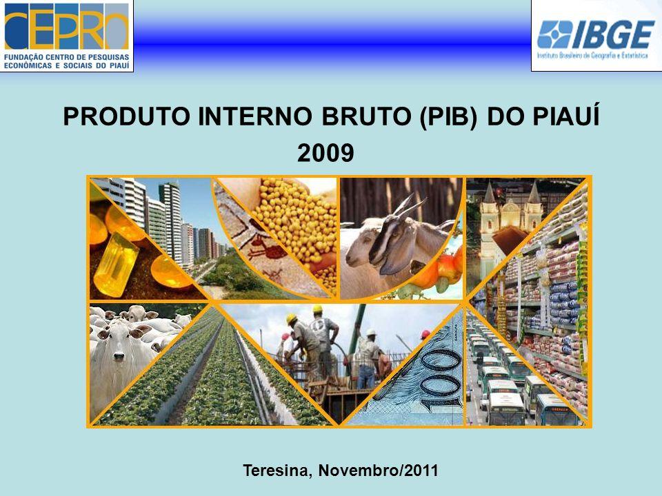 Agropecuária: 10,16% Indústria: 16,98% Serviços: 72,86% PRODUTO INTERNO BRUTO (PIB) A estrutura setorial do PIB piauiense teve a seguinte composição em 2009