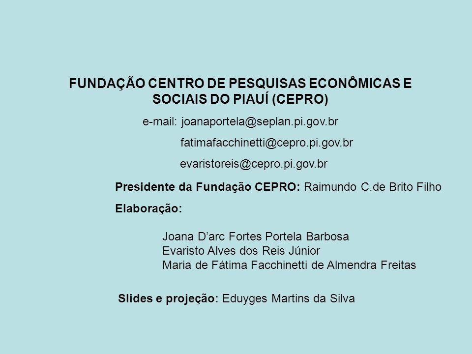 Presidente da Fundação CEPRO: Raimundo C.de Brito Filho Elaboração: Joana Darc Fortes Portela Barbosa Evaristo Alves dos Reis Júnior Maria de Fátima F