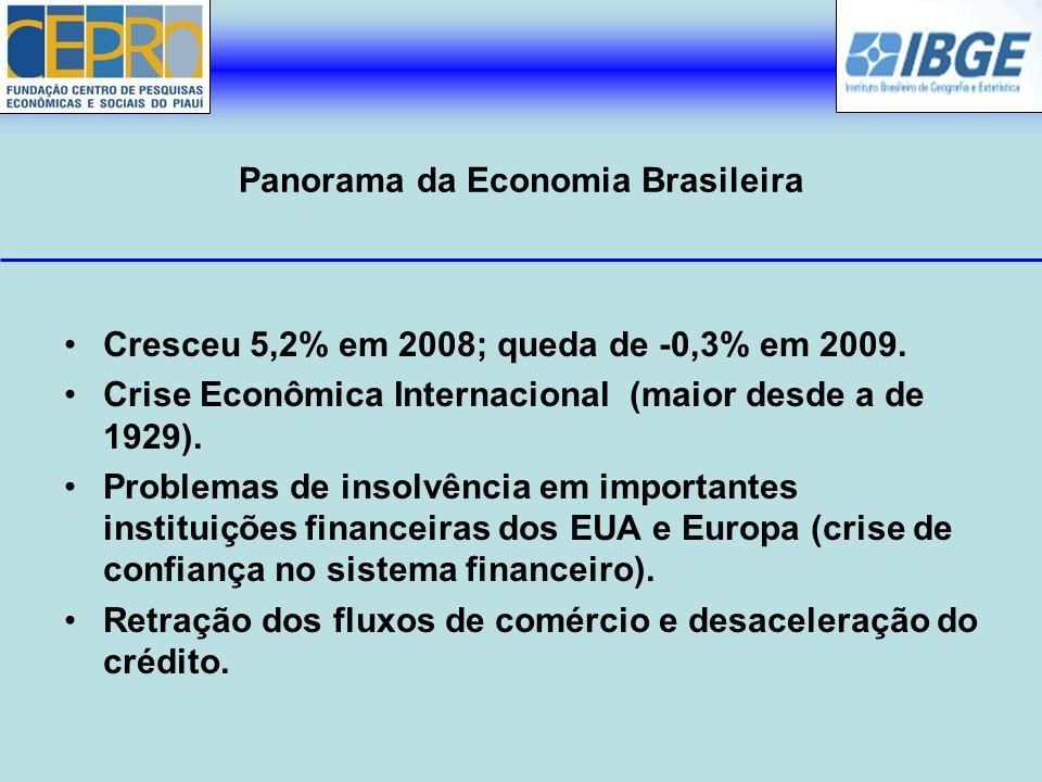 Panorama da Economia Brasileira Cresceu 5,2% em 2008; queda de -0,3% em 2009. Crise Econômica Internacional (maior desde a de 1929). Problemas de inso